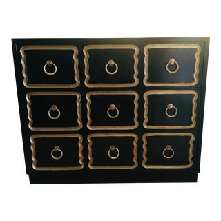 Dorothy Draper Style Black Campaign Three Drawer Chest