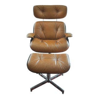 Eames Style Leather Lounge Chair And Ottoman By Selig