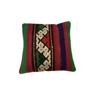 Red and Green Turkish Handmade Kilim Pillow Cover