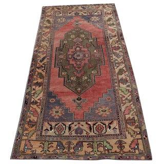 Vintage Turkish Boho Multi-Color Wool Rug - 4' X 9'