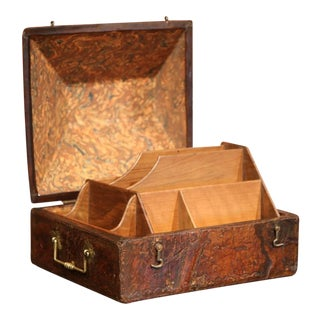 19th Century French Brown Leather and Brass Letter Holder