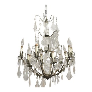 Antique French Crystal & Bronze Chandelier