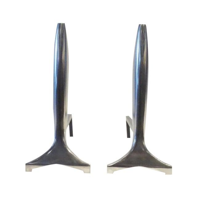 Modernist Aluminum Andirons - A Pair - Image 1 of 5