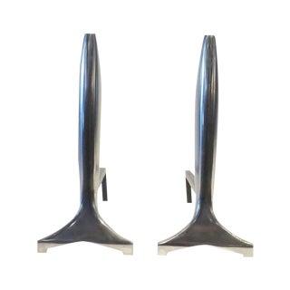 Modernist Aluminum Andirons - A Pair