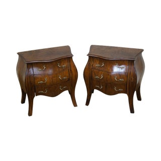 Miniature French Louis XV Style Walnut Bombe Commodes - A Pair