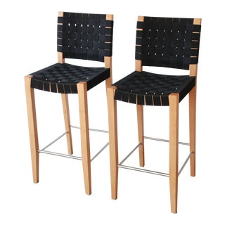 Risom Style Black Canvas Strap Bar Stools by Andreu World - A Pair