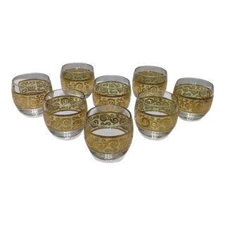 Culver Green and Gold Cocktail Glasses - Set of 8