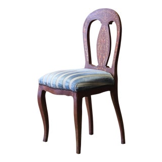 French Floral Marquetry Side Chair