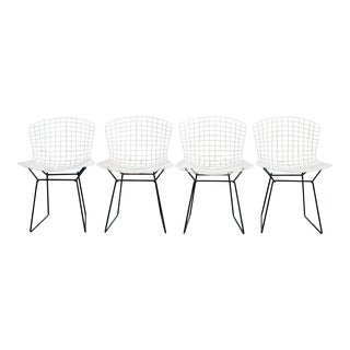 Harry Bertoia Knoll White Wire Chairs - Set of 4
