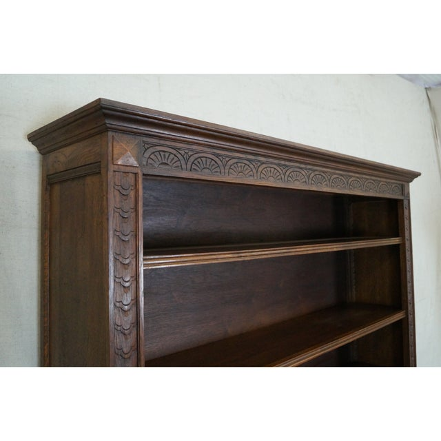 English Tudor Oak Large Open Bookcase - Image 8 of 10