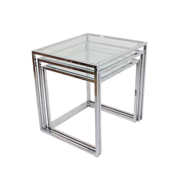 Milo Baughman Chrome Nesting Tables - Set of 3 - Image 2 of 4