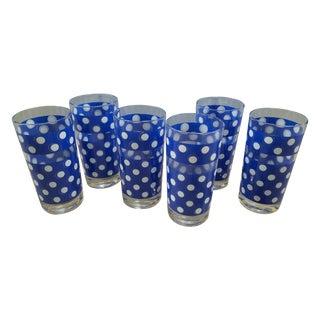 MCM Blue & White Polka Dot Drinking Glasses - S/6
