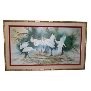 Chinese Crane Bird Painting on Canvas
