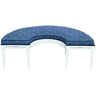 Half Circle Velvet Blue Bench