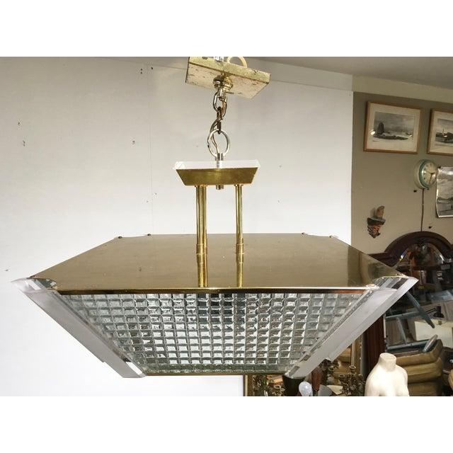 Fredrick Ramond Post Modern Square Brass & Glass Chandelier - Image 6 of 11