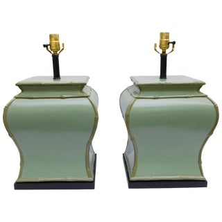 Vintage Sage Green Ceramic Lamps - A Pair