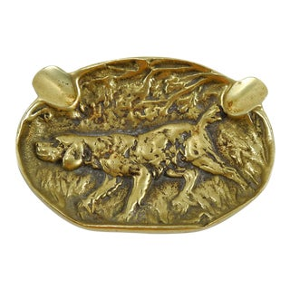 Brass Hunting Dog Ashtray