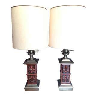 Stiffel Mid-Century Hollywood Regency Red Table Lamps, 1960s - A Pair