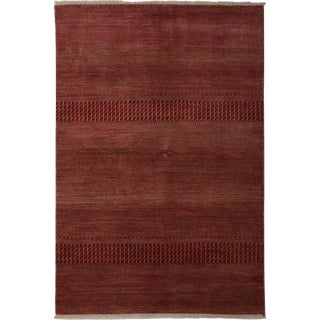 """New Tonal Stripe Hand Knotted Area Rug - 4'1"""" x 6'"""