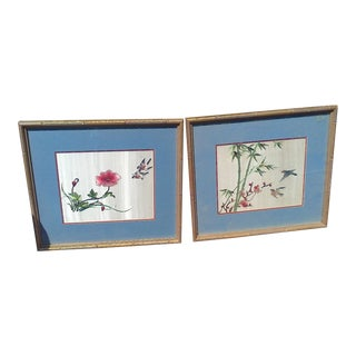 Framed Silk Prints - A Pair