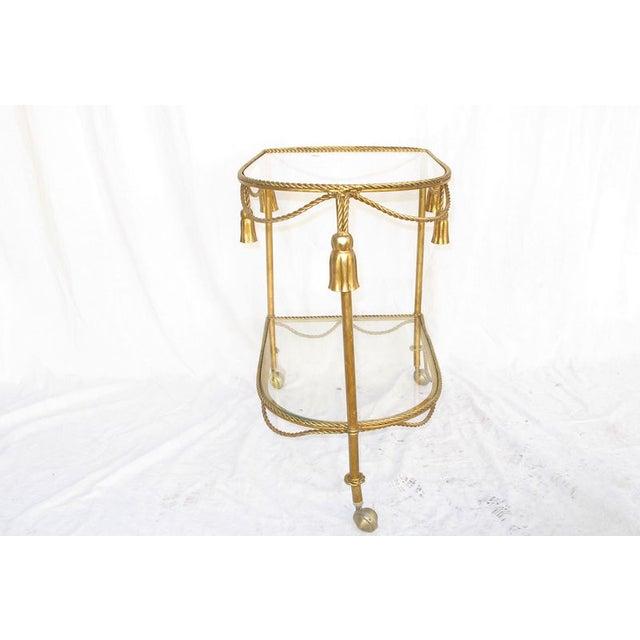 Hollywood Regency Gold Leaf Cocktail Cart - Image 6 of 7