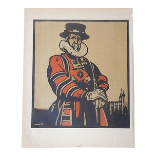 Antique Lithograph, London Types, Beefeater