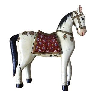 Antique Hand Painted Wooden Indian Hindu Rajhastani Wedding Horse