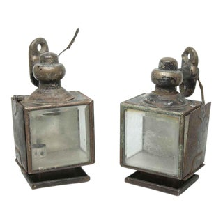 Mini Tin Carriage Lights - A Pair