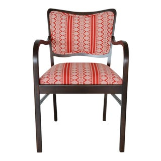 "Bent Wood Red ""Aztec"" Fabric Upholstered Chair"