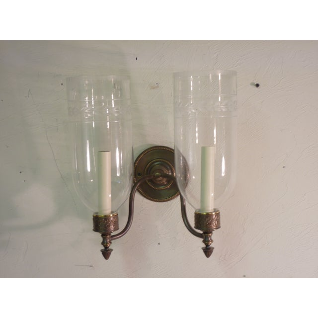 Sconces With Glass Shades - A Pair - Image 2 of 4