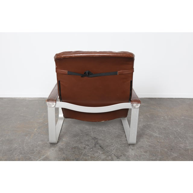 Asko Finland Mid-Century Leather Lounge and Ottoman - Image 4 of 5