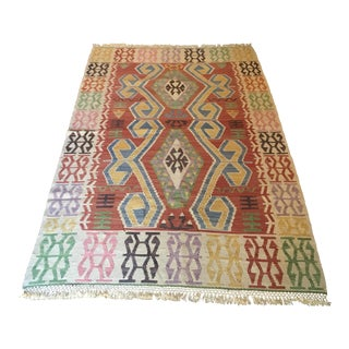 Vintage Turkish Kilim Rug - 4′1″ × 6′6″