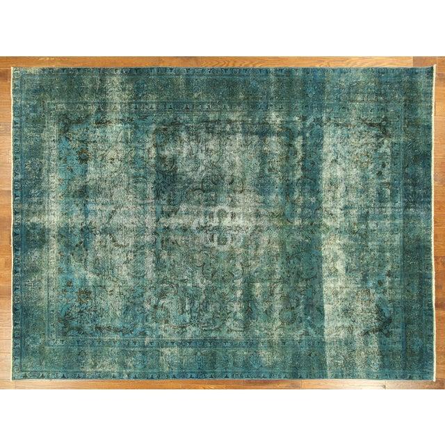 Irani Persian Blue Overdyed Wool Rug - 10'X13' - Image 2 of 8