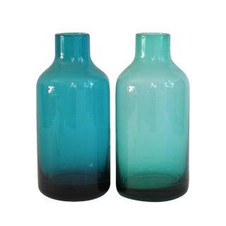 Turquoise Apothecary Jars - A Pair