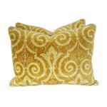 Image of Italian Golden Scalamandre Velvet Pillows - Pair