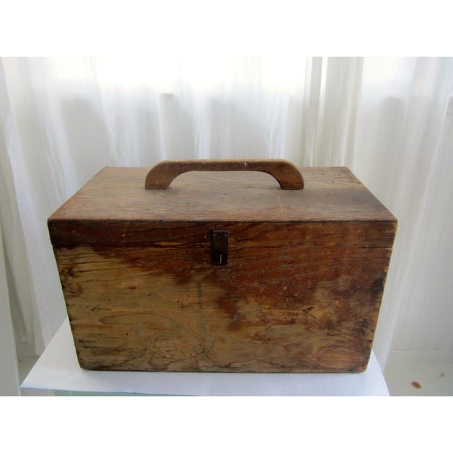 Primitive Rustic Wood Trunk Chest Crate Tool Chest - Image 5 of 11