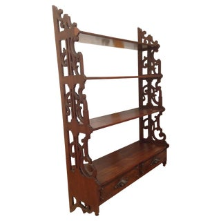 Art Nouveau Carved Walnut Waterfall Shelf