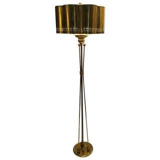 Vintage 1950s Modern French Brass Floor Lamp