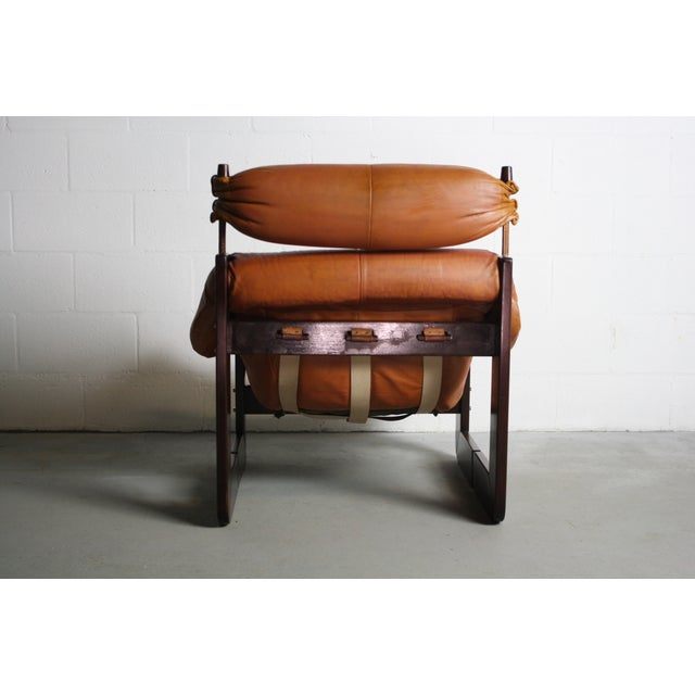 Percival Lafer Rosewood Tan Leather Lounge Chair - Image 11 of 11