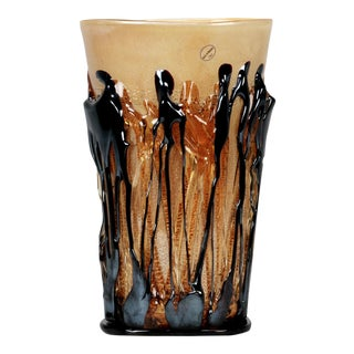 Murano Vase with Contrasting Gold and Brown Applied Glass