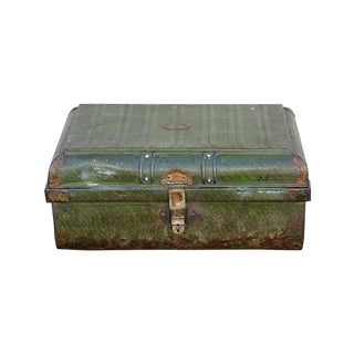 1950s Green Rusty Iron Traveler's Trunk