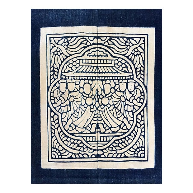 Hand-Blocked Chinese Indigo Story Panel Textile - Image 4 of 5