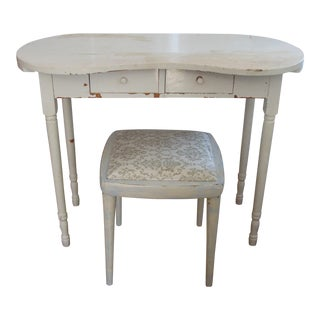 Shabby Chic White Vanity & Upholstered Bench Set