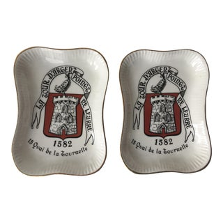 2 'La Tour D'Argent' French Ashtrays-Longchamp