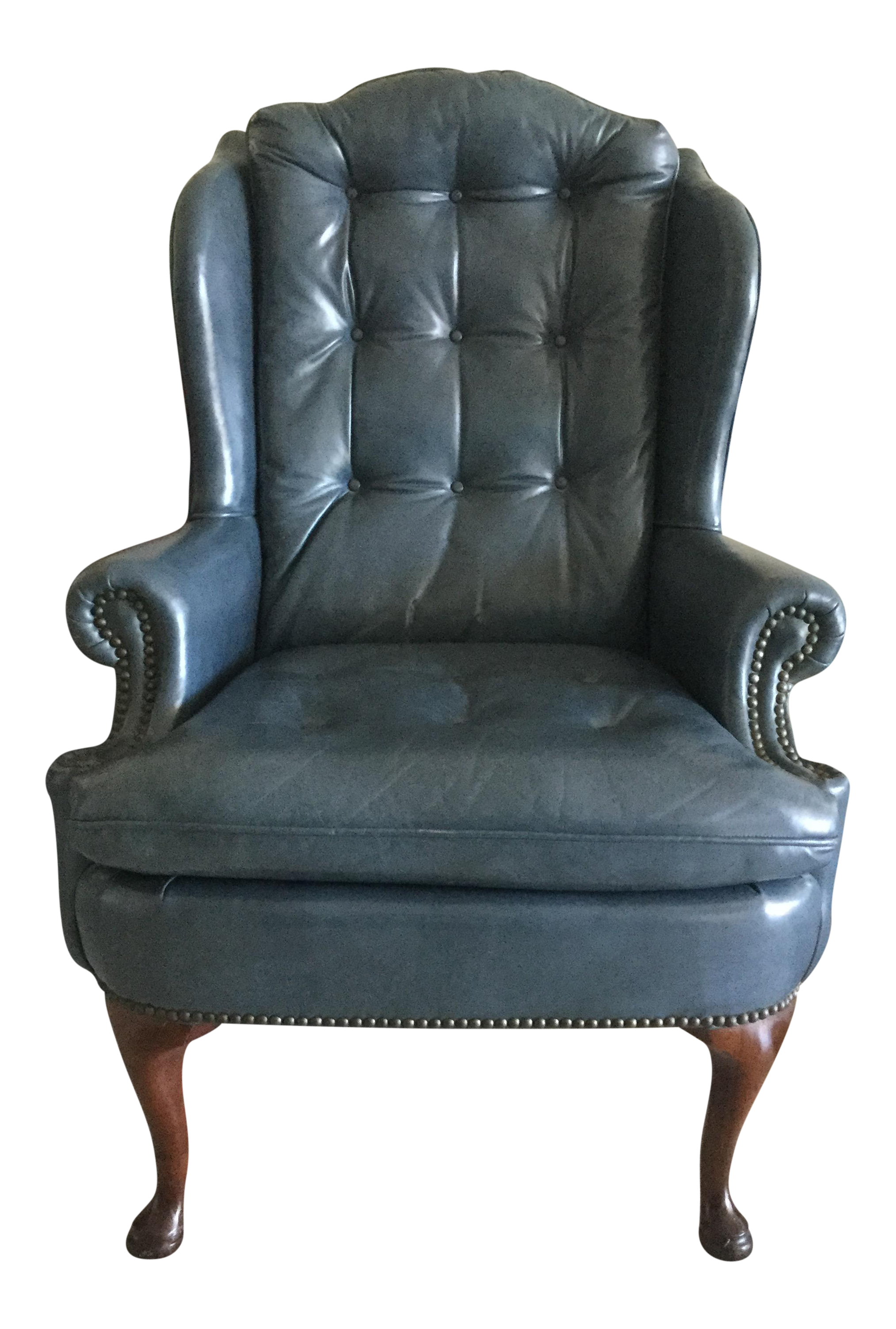 Steel Blue Leather Wingback Chair Chairish