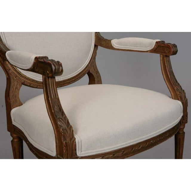 Louis XVI Oval Back Gilded Fauteuils - A Pair - Image 7 of 9