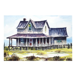 The Old Boarding House Watercolor by Oris G. Turley