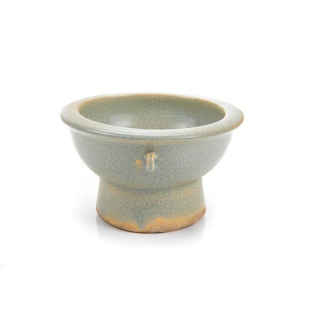 Image of Chinese Antique Crackled Green Celadon Bowl