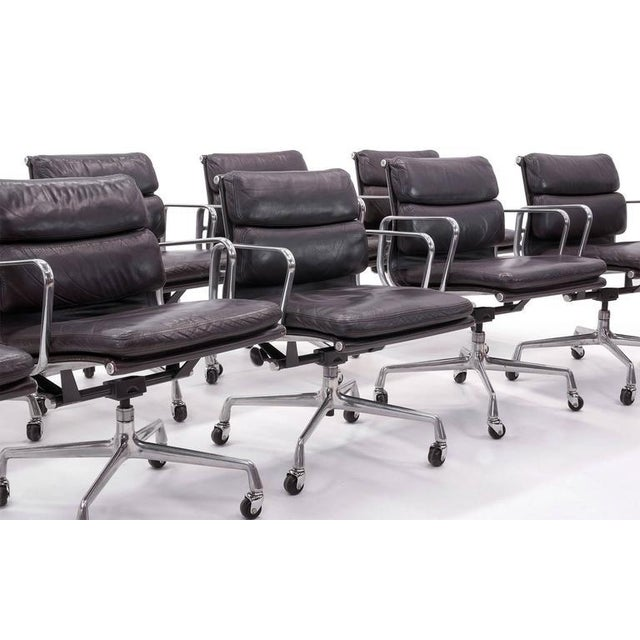Eames for Herman Miller Leather Soft Pad Aluminum Group Armchairs buy any number - Image 3 of 10