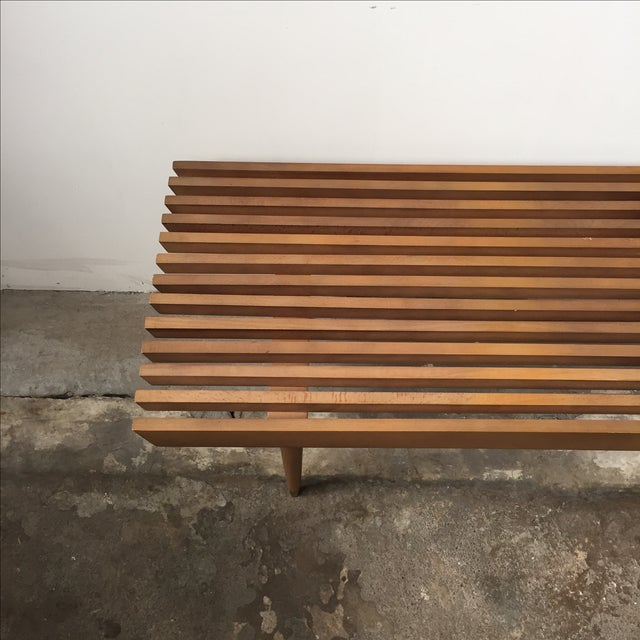 Mid-Century Yugoslavian Slat Bench With Peg Legs - Image 4 of 11